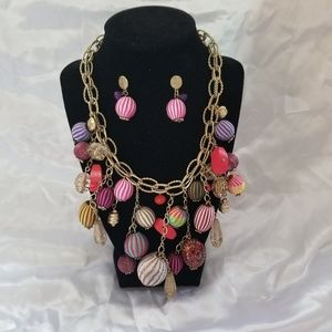 Chico's  Chunky Mixed Media Necklace/Earrings Set